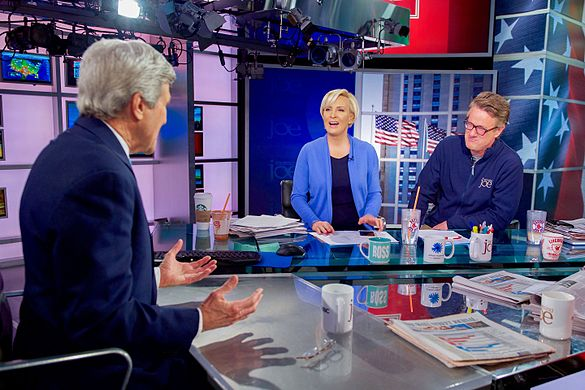 Secretary Kerry Chats With 'Morning Joe' Co-Hosts Scarborough, Brzezinski  Before Appearing
