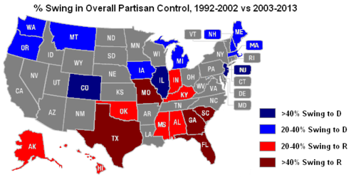 Us Map Democrat Republican.Ballotpedia Who Runs The States Changes Of Partisan Domination Over