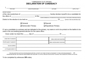 Ballot access requirements for political candidates in Virginia ...